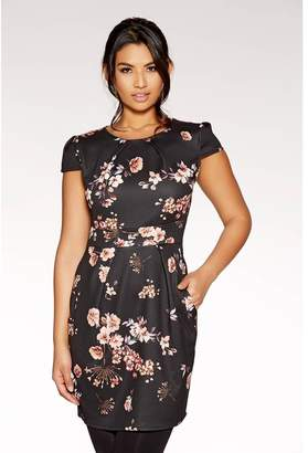 Quiz Black Floral Print Bodycon Midi Dress
