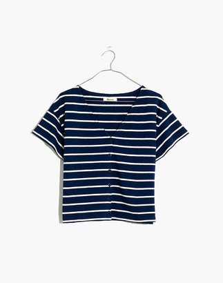 Madewell V-Neck Button-Front Boxy-Crop Tee