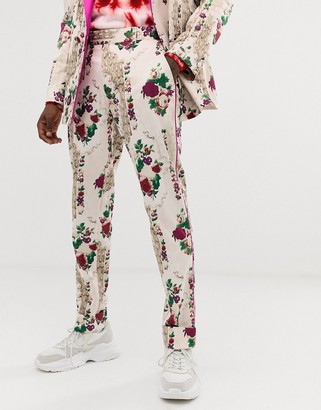 Asos Edition EDITION skinny suit pants in cream floral jacquard