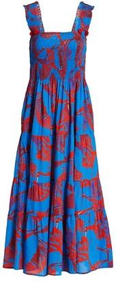 Figue Luella Crane Print Midi Dress
