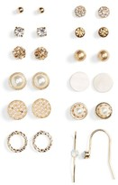 BP Women's 12-Pack Imitation Pearl & Crystal Earrings