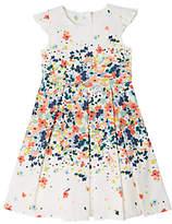 John Lewis Girls' Floral Pleated Summer Dress, Cream