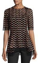 Lela Rose Wavy-Illusion Half-Sleeve Top