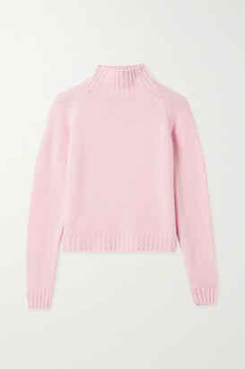 The Elder Statesman Highland Cropped Ribbed Cashmere Turtleneck Sweater - Pastel pink