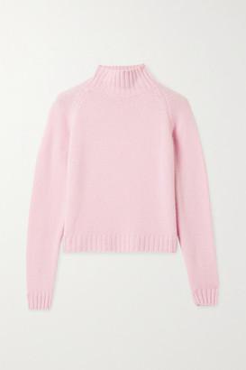 The Elder Statesman Highland Cropped Ribbed Cashmere Turtleneck Sweater - Pastel pink