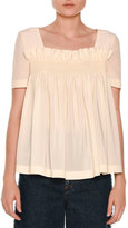 Stella McCartney Short-Sleeve Smocked Empire Babydoll Blouse, Natural