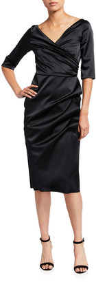 Chiara Boni V-Neck Elbow-Sleeve Ruched Satin Dress