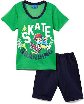 Sweet & Soft Boys' Casual Shorts Green - Parrot Green & Navy 'Skateboarding' Tee & Shorts - Infant