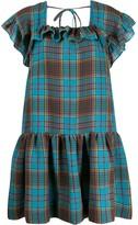 Pushbutton check flared mini dress
