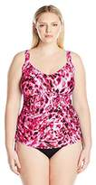 Maxine Of Hollywood Women's Plus Size Wild Shirred Underwire Swimsuit Tankini Top With Adjustable Sides
