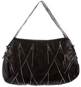 Balmain Zipper-Accented Leather Shoulder Bag