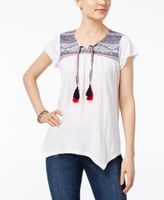 Style&Co. Style & Co Style & Co Petite Embroidered Peasant Top, Created for Macy's