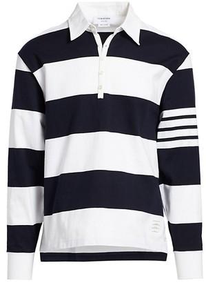 Thom Browne Striped Long-Sleeve Polo Shirt