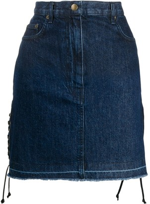 McQ Drawstrings Denim Skirt