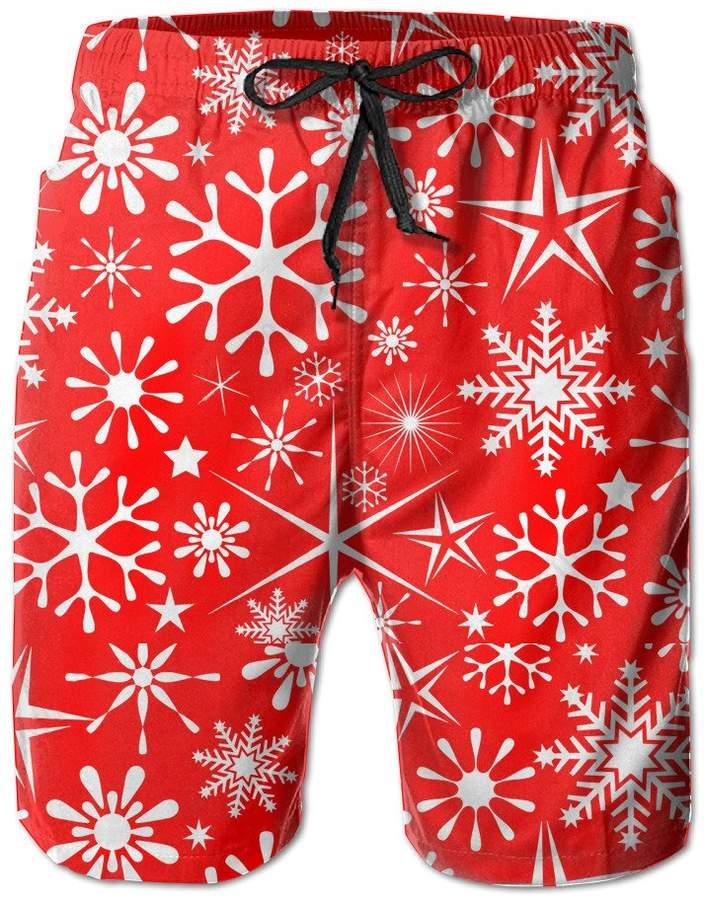 Trunks BOWENSS Merry Christmas Snowflake Men's Water Sports Beach Shorts