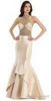 Morrell Maxie Illusion Rhinestone Tiered Mermaid Evening Gown