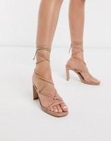 Z Code Z Z_Code_Z Adali ankle tie heel sandals in blush