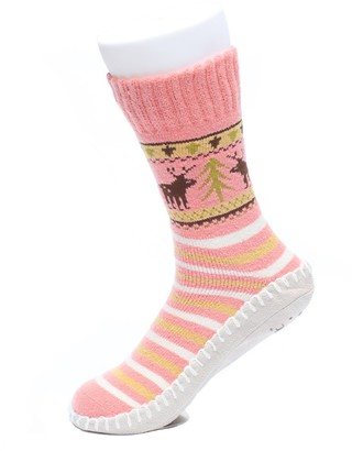 Ofoot Women's Stripes Polyester Knitted Home Slipper Socks with Non-Slip Suede Sole (M/L 5-6.5 B(M) UK