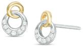 Zales Diamond Accent Interlocking Circle Stud Earrings in 10K Two-Tone Gold