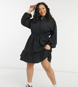 ASOS DESIGN Curve button through mini skater shirt dress with pephem in self stripe in black