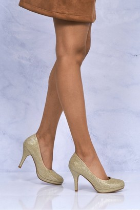 Miss Diva Magnolia High Heel Low Platform Court Shoe In Gold