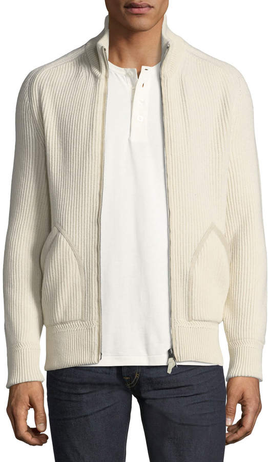 Tom Ford Cashmere Suede-Trim Ribbed Zip-Front Cardigan