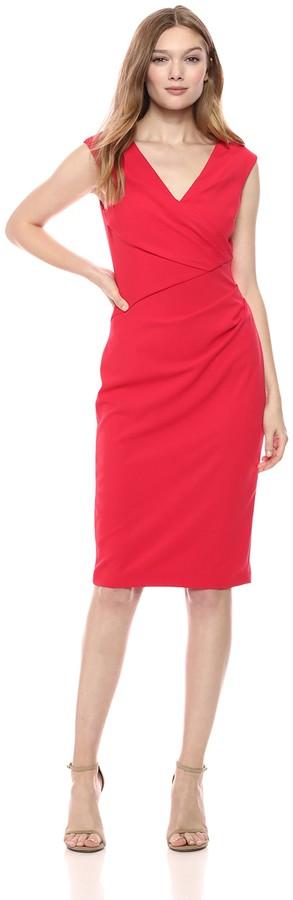 Adrianna Papell Women's Knit Crepe Draped Sheath Dress
