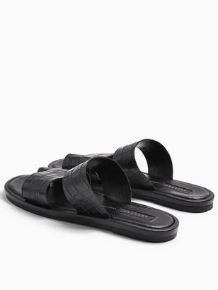Topshop Double Strap Flat Sandals - Black
