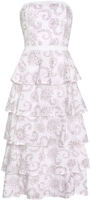 True Decadence White Multi Broderie Strapless Layered Midi Dress