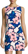 Neiman Marcus Floral-Print Embellished-Neck Shift Dress, Multi