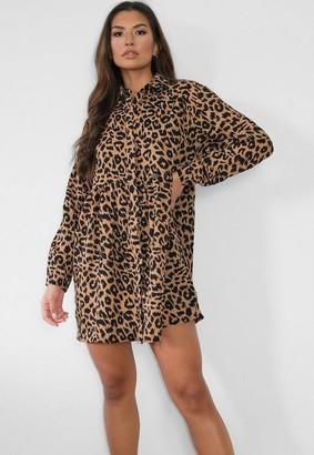 Missguided Brown Leopard Print Shirt Smock Dress