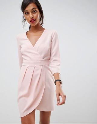 Asos Design DESIGN mini dress with wrap skirt-Pink
