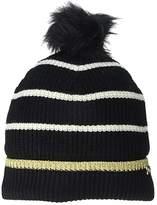 Lauren Ralph Lauren Metallic Tipped Striped Beanie (Black/Gold) Knit Hats