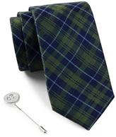 Ben Sherman Silk Plaid Tie & Lapel Pin Box Set