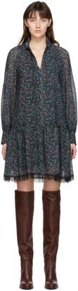 See by Chloe Navy Chiffon Floral Haze Dress