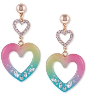 GUESS Double Heart Drop Earrings