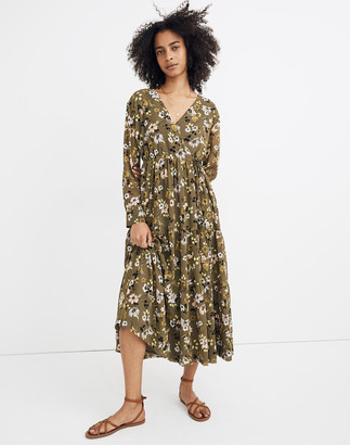 Madewell Cinch-Waist Tiered Midi Dress in Wildblooms