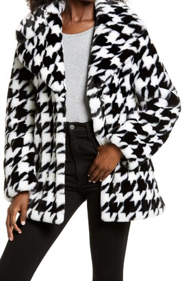 AVEC LES FILLES Houndstooth Faux Fur Coat