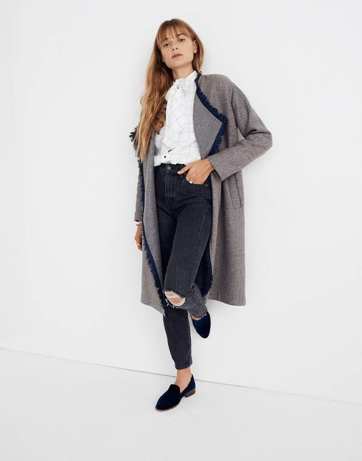 Madewell Fringed Herringbone Robe Coat