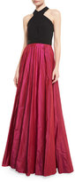 Carmen Marc Valvo Sleeveless Beaded Jersey & Taffeta Ball Gown, Black/Magenta