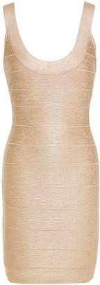 Herve Leger Metallic Coated-bandage Mini Dress