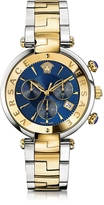Versace Revive Chrono Stainless Steel and PVD Gold Plated Women's Watch w/Blue Dial