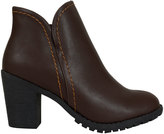 Yours Clothing Dark Brown Faux Leather Heeled Ankle Boot With Side Zip In E Fit