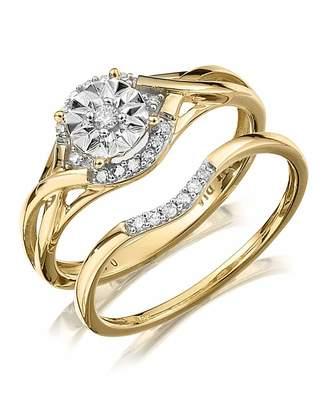 Marisota 9 Carat Fancy Diamond Bridal Ring Set