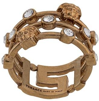 Versace Medusa Greca crystal ring
