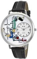 Whimsical Watches Respiratory Therapist Black Skin Leather and Silvertone Unisex Quartz Watch with White Dial Analogue Display and Multicolour Leather Strap U-0620028