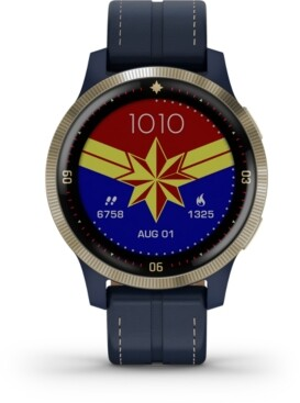 Garmin Unisex vivoactive 4 Captain Marvel Legacy Hero Blue Silicone Strap Touchscreen Smart Watch 32mm