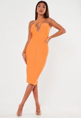 Missguided Premium Orange Bandage Multiway Strap Plunge Midi Dress