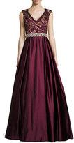 Jovani Sleeveless Embellished Lace & Satin Ball Gown, Burgundy