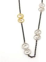 Gurhan Vortex Dark & White Sterling Silver 24K Yellow Gold Spiral Link Chain Necklace